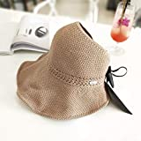 Fashion Bow Sun Hats Women Ponytail Sun Cap Ribbon Knitted Raffia Hat for Women UV Protction Gorras Female Beach Hat : Khaki