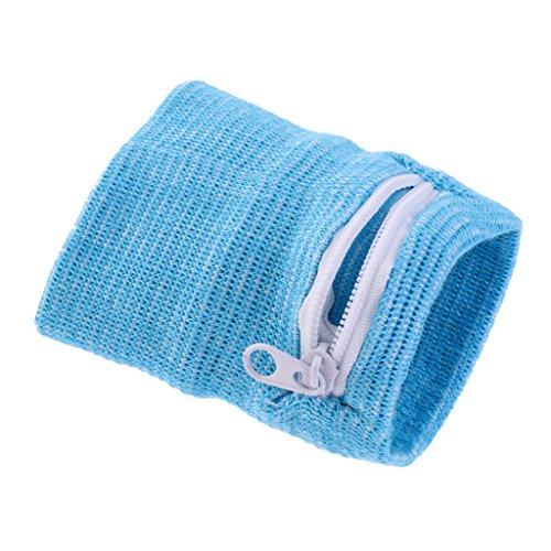 SM SunniMix Armbandtasche Armband mit Reißverschluss Geldbörse Handgelenktasche Sporttasche Geldbeutel für Erwachsene Kinder - Himmelblau -