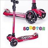 BAYTTER Kinderscooter Dreirad mit verstellbarem Lenker Kinderroller Roller Scooter LED Blinken für Kinder ab 3 4 5 Jahren, bis 100kg belastbar (Modell A in Rot)