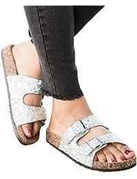 Ybenlover Damen Doppelt Schnalle Sandalen Softfoodbed Riemchen Glitzer Pantoletten