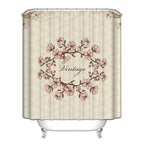 Rideau de douche, épaisseur de polyester imperméable à l'eau Protection de l'environnement Mildew 180 * 200cm 200 * 180cm (fleurs roses) Rideau de douche ( Size : 150*180cm (59*71inch) )