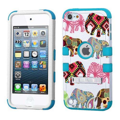 iPod Touch 5. 6. Generation Weiß Kunststoff/Blau Silikon 3-Stil Hybrid Hard Schutzhülle für Apple- für Mädchen und Boys-Shockproof Staubfrei, mit Ständer, Elefanten