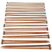 PIXNOR carbonizzato cada Agujas de bambú para punto Agujas de tejer (2 mm-) 36pcs-10 mm