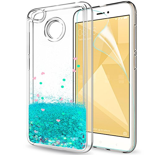 LeYi Hülle Xiaomi Redmi 4X Glitzer Handyhülle mit HD Folie Schutzfolie,Cover TPU Bumper Silikon Flüssigkeit Treibsand Clear Schutzhülle für Case Xiaomi Redmi 4X Handy Hüllen ZX Turquoise
