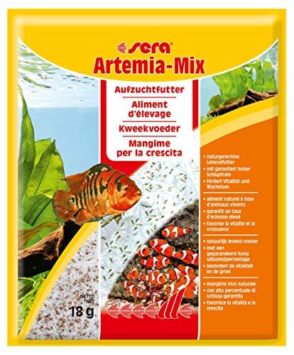 sera Artemia-mix 18 g das lebende Aufzuchtfutter bzw. Jungfischfutter für natürliches Fressverhalten, der fertige Instant-Mix mit garantiert hoher Schlupfrate muss nur noch mit Wasser angesetzt werden -