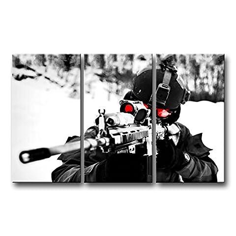 3panneau mural art Photo Sniper militaire Vise les photos des Impressions sur toile militaire le Décor à l'huile pour Home moderne Décoration d'impression