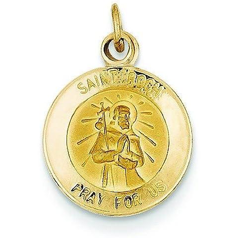 Oro 14K St Roch Medaglia Ciondolo