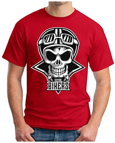 OM3 - SKULL-BIKERS - T-Shirt GEEK, S - 5XL Rot