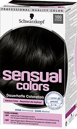 Schwarzkopf Sensual Colors Dauerhafte Coloration 100 Schwarz, 3er Pack (3 x 142ml)