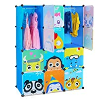 HOMFA 12-Cube DIY Cabinet Storage Unit Organiser for Kids Stackable Plastic Cube Shelves Multifunctional Modular Cupboard Wardrobe with Animal Cartoons on Doors