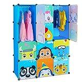 BAMNY Kinderzimmer Kleiderschrank, Aufbewahrungsregal für Kleidungen Schuhe Spielzeuge, DIY Steckschrank mit 2 Kleiderstangen und Tieren Motiven(Blau)