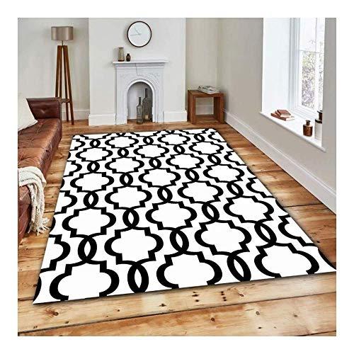 ch Schwarz und Weiß Kreatives Muster 3D Gedruckter Teppich mit hoher Dichte Geeignet für Familien Wohnzimmer Schlafzimmer, 80 cm (H) X 120 cm (W) ()