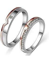 Aivtalk - Bague Couple Amoureux Argent 925 Avec Pierre en Oxyde de zirconium - Coeur - Pour Femme Homme Alliance Fiançaille Mariage