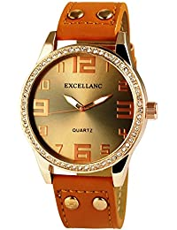 Excellanc llanc 50mm XXL brillantes Reloj de pulsera Marrón Cuero PU Remaches reloj de hombre
