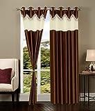 Super India Polyster 2 pcs plain frills curtains brown 4feet X 5feet