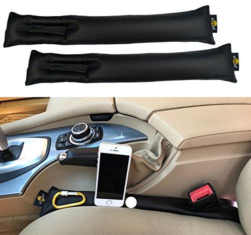 Universel de siège de voiture Gap Filler (lot de 2) Cuir PU Couture Spacer | épais, rembourrage doux | Compatible W/voitures, SUV, max Space 6cm | Auto côté Caddy W/emplacement pour ceinture de sécurité