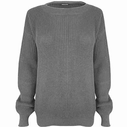 Manches longues tricot Baggy extra large uni Wardrobe Pull pour femme - Grey - Full Sleeves Sweater Winter