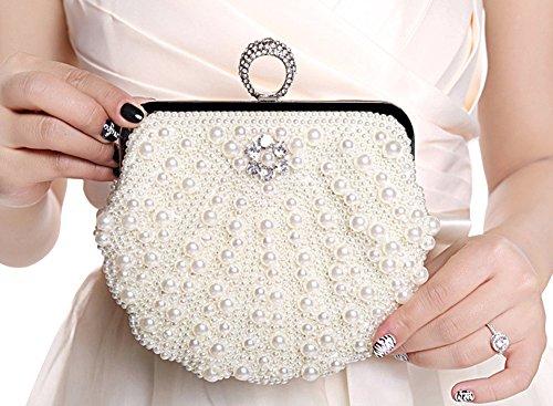 Genda 2Archer Donna Elegante Sera Borsetta Partito Perline Frizioni (19cm * 20cm) Bianco