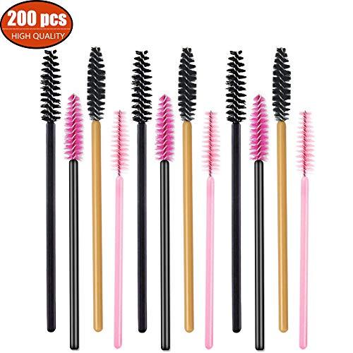200 stücke Einweg Mascara Zauberstäbe Wimpernbürsten Wimpern Make-Up Applikatoren Kosmetik Pinsel Kit, (Multicolor, 200 stücke) -