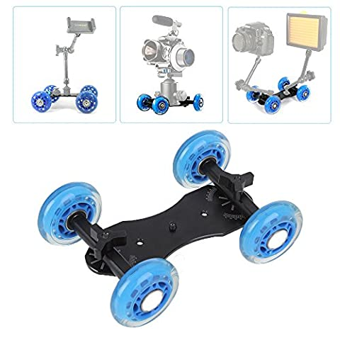 Topfroto Dolly Rolling Slider Car/Desktop Camera Track Car with 3