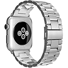 Simpeak Bracelet Apple Watch 38mm Métal Fermoir en Acier Inoxydable Bande de Remplacement pour Apple Watch Series 3 Series 2 Series 1 - Argent