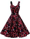 Dresstells Schultergurt 1950er Retro Schwingen Pinup Rockabilly Kleid Faltenrock Black Rose M