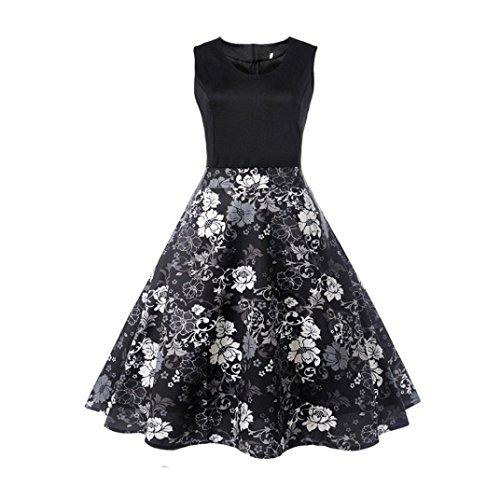 OVERDOSE Damen Blumen Vintage 1950er Ärmellos Casual Abend Partei Abschlussball Schwingen Kleid Cocktailkleid Rockabilly Kleid(A-Black 3,EU-36/CN-S) (Karierte Stretch-wolle Kleid)