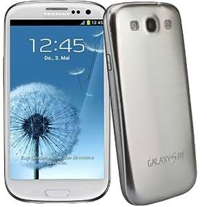 xubix Full Metal Akkudeckel für Samsung i9300 Galaxy S3 Silver Silber brushed Metall Aluminium mit dezent weißem Rand