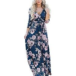 Lover-Beauty Vestido Mujer Largo Floral Print Casual para Fiesta Noche Elegante Top Dama Ropa de Manga Larga Suelto con Estampada Falda Cuello Redondo Sexy Playa Maxi Boho