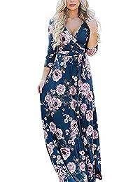 Lover-Beauty Vestido Largo Floral Print Casual para Noche Fiesta Playa Fiesta Manga Larga Cuello Redondo Vestido Verano Cuello V