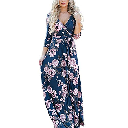 Lover-Beauty Kleider Damen elegant lang Damen Boho Long Maxikleider Party Rock Sommer Print Kleider langes Kleid blau XL - Lang Für Den Kleid Sommer