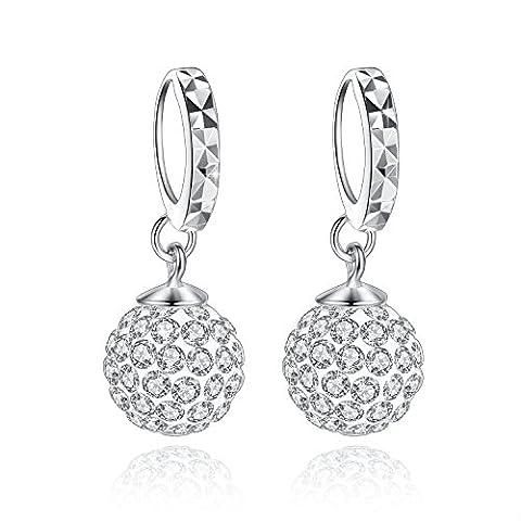 Fashmond KindertagValentinstagGeschenke Kugel Design Ohrgehänge Creolen für Damen Mädchen 925 Sterling Silber Kristall
