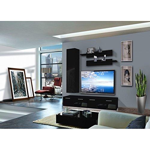AC-Déco Ensemble Meuble TV Murale - Ledge IV - 1 vitrine - Noir - Modèle 2