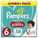 Pampers Baby-Dry Pants Größe 6 (ab 15 kg), Windeln mit Luftkanälen, 58 Stück