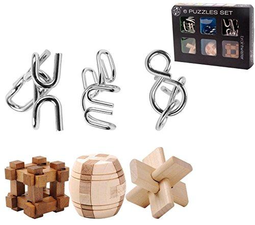 Brainteaser, Foxom 6er IQ-Spiel Set Brainteaser 3D-Puzzles Geduldspiele Metallpuzzle Holzpuzzle