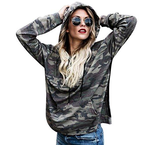 FORH Damen vintage Camouflage-Style gedruckte Hoodie Sweatshirt super weich Kapuzenpulli Tops Bluse (XL, Camouflage B)
