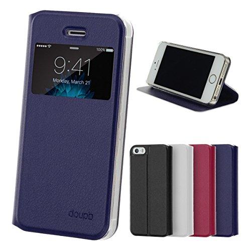 iPhone SE / 5S / 5 Flip Hülle, doupi FlipCover mit Sichtfenster Deluxe Magnet Schutzhülle Book Style Ständer Case, dunkel blau (Iphone 5c Flip Cover Mit Fenster)