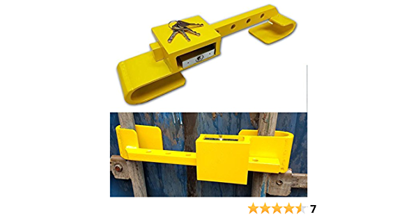 All Ride Containerschloss Aus Gehärtetem Stahl Diebstahlschutz Inklusive Bügelschloss 4 Schlüssel 2 Teilig Farbe Gelb Auto