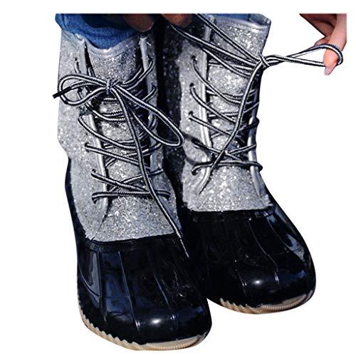 Dorical Hohe Gummistiefel für Damen/Frauen Flach Stiefeletten Frauen Wasserdicht Schneestiefel Kurzschaft Stiefel 3 cm Absatz mit Schnürsenkel Glitter Regenstiefel(Schwarz,39 EU)