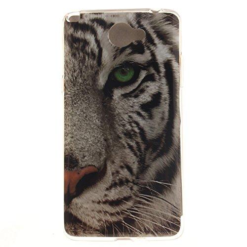 Guran® TPU Silikon Hülle für LG Bello II (5 Zoll) Smartphone Gemalt Schutzhülle Cover-Tiger