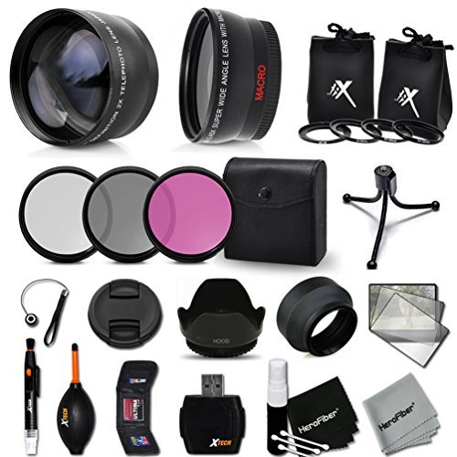 Essential 52mm Accessory Kit for CANON NIKON FUJIFILM SONY OLYMPUS SAMSUNG PANASONIC PENTAX and LEICA DSLR Cameras - Includes: 52mm High Definition Wide Angle Lens with Macro Closeup feature + 52mm High Definition 2X Telephoto Lens + 52mm HD 3 Piece Filter Kit + + Ring Adapters to from 46-62mm + 52mm Tulip shaped Hard Lens Hood + 52mm Soft Rubber Lens Hood + 52mm Lens Cap + Universal Card  available at amazon for Rs.10423
