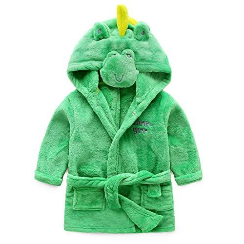 Kostüm Flanell Grüne - X-Labor Kinder Baby Flanell Bademantel mit Kapuze Tier Kostüm Badetuch Kapuzenhandtuch Schlafanzug Nachtwäsche für Mädchen Jungen Grün Dinosaurier 90