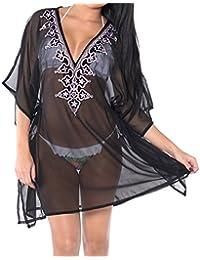 La Leela Beach Cover ups Dresses Swimsuit Blouse Caftan Bikini Bathing Resortwear Gifts Kaftan Tops Tunic For Women's Chiffon Plain With Sequin Plus Size Stretchy Black Grey Gift Spring Summer 2017