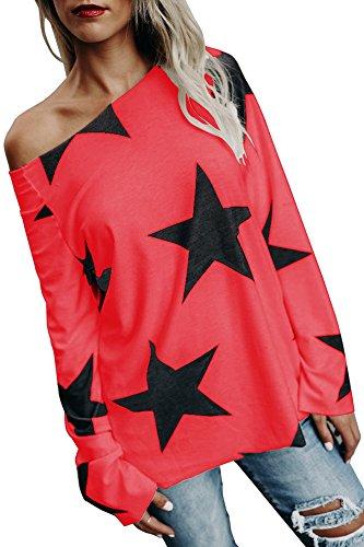 Damen Tops Oberteile lang Pullover mit Sternenmuster Schrägstrich Schulter Trägerlos T Shirt Langarmshirt Lässige Casual Basic Rot 40-42/L (Weiches Super T-shirt Rot)