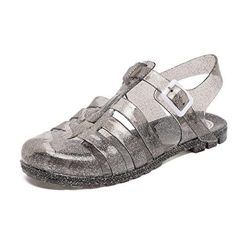 Schuhe Gelee Damen Strand Sandalen Sommer Fesselriemen Geschlossen Jelly Sandals Schnalle Flach Schwarz Gold Grau Rosa Weis 38 - Frauen Jelly-schuhe