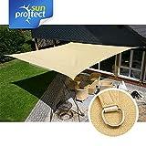 sunprotect 83492 Professional Sonnensegel, 4 x 4 m, Quadrat, Wind- & wasserdurchlässig, beige