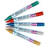 Baker Ross Bunte Acryl-Dekostifte mit Perlglanz-Effekt (Deco Pen) - Set B (gold - silber - rot - grün - blau) für Kinder - 5 Stück - Hobby Line 46202