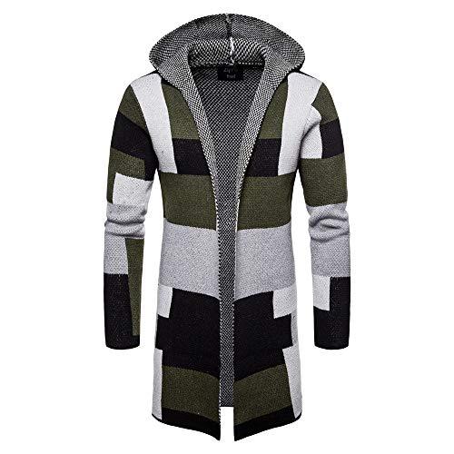 CICIYONER Herren Strickjacke Open Jacke Lang Cardigan Knit Mantel Strick Jacke Hoodie Hoody Sweatshirt Sweatblazer Multi-Color und Multi-Size