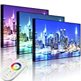 Lightbox-Multicolor | Leuchtendes LED Bild | New York City, Skyline Brücke bei Nacht | 100x70 cm | Front Lighted