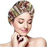 mahada Quick Dry Hair Wrap Towels Turban,Vertical Striped Vibrating Decorative Timber Design With Various Star Figures